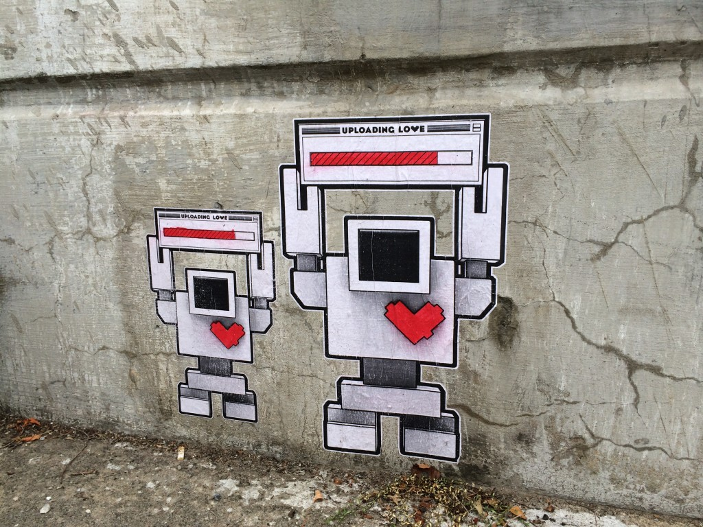Robot graphics on concrete wall
